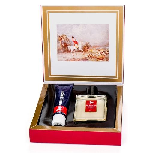 Presentkartong med hårkräm och after shave lotion från White Horse