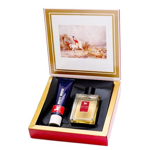 Presentkartong med hårkräm och parfym från White Horse