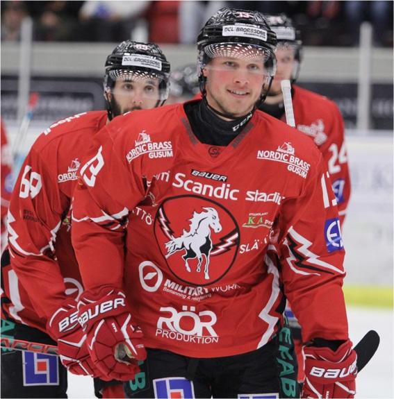 Hockeyspelare från Vita Hästen, som sponsras av White Horse